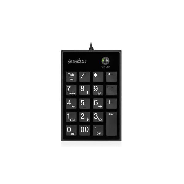 Perixx PERIPAD-PERIPAD-202 H, USB Nummernblock mit 2-Port Hub, schwarz