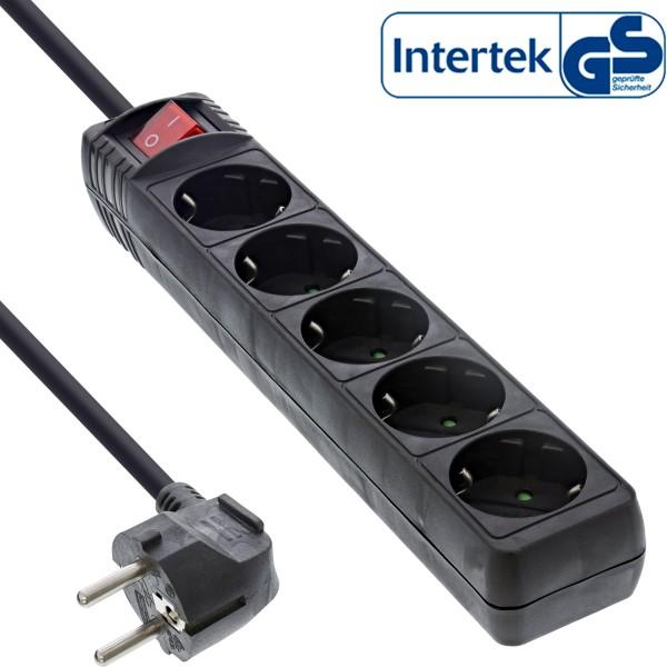 InLine® Steckdosenleiste, 5-fach Schutzkontakt, mit Schalter, 1,5m, schwarz