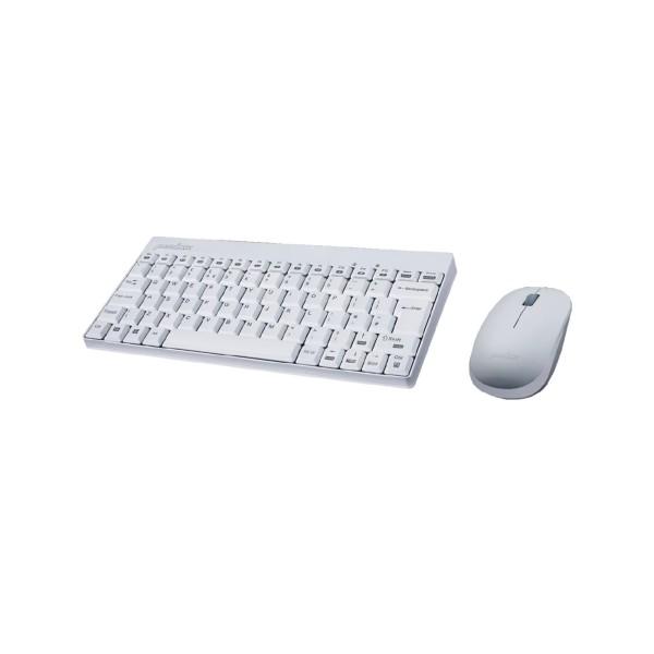 Perixx PERIDUO-712 DE W, Mini Tastatur und Maus Set, schnurlos, weiß