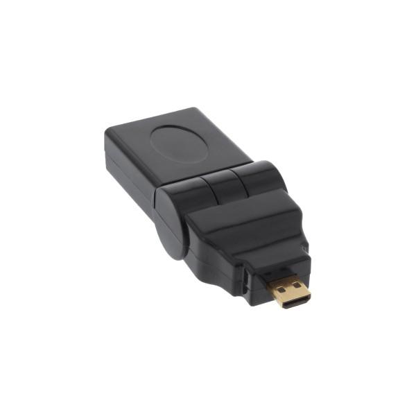 InLine® HDMI Adapter, HDMI A Buchse auf Micro HDMI D Stecker, flexibel, 4K2K kompatibel, vergoldete