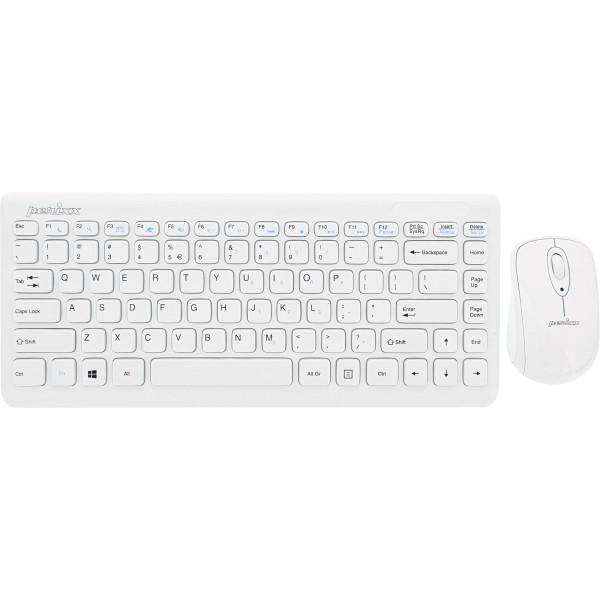 Perixx PERIDUO-707 PLUS US W, Mini Tastatur und Maus Set, schnurlos, weiß
