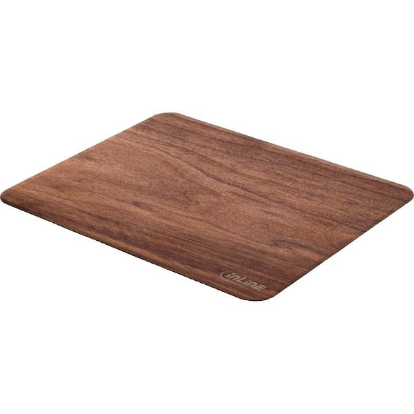 InLine® WoodPad, Echtholz Mauspad, Walnuss, 240x200mm