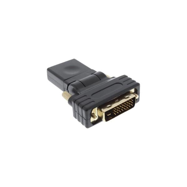 InLine® HDMI-DVI Adapter, HDMI Buchse auf DVI Stecker, flexibler Winkel, vergoldete Kontakte, 4K2K k