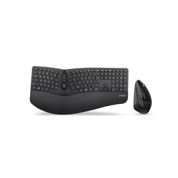 Perixx PERIDUO-605 DE, Tastatur- und Maus-Set, kabellos, ergonomisch, schwarz