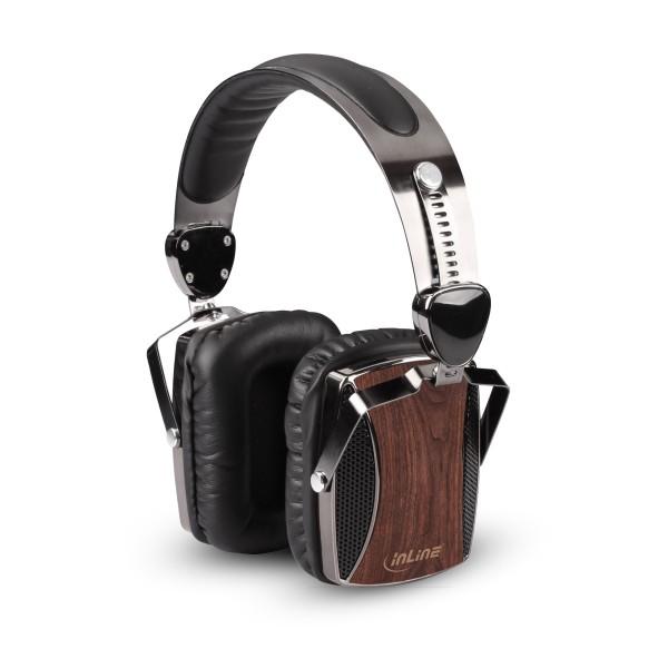 InLine® woodon-ear, wooden On-Ear Headset mit Kabelmikrofon und Funktionstaste, Walnuß