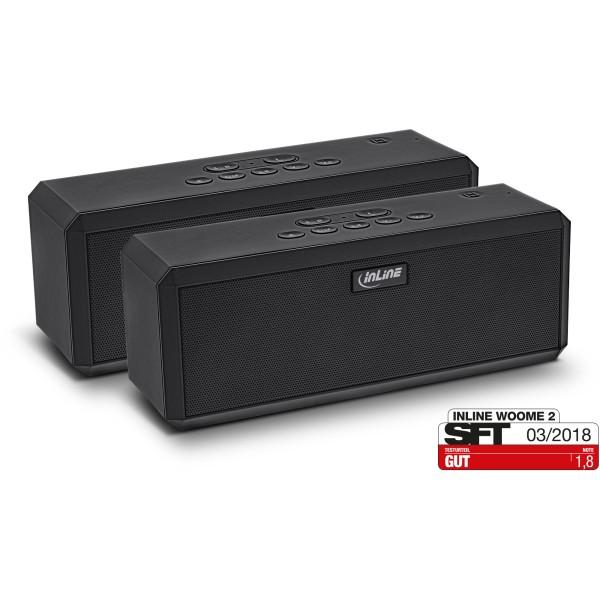 InLine® WOOME 2 - TWS True Wireless Stereo Bluetooth Lautsprecher, Doppelpack schwarz