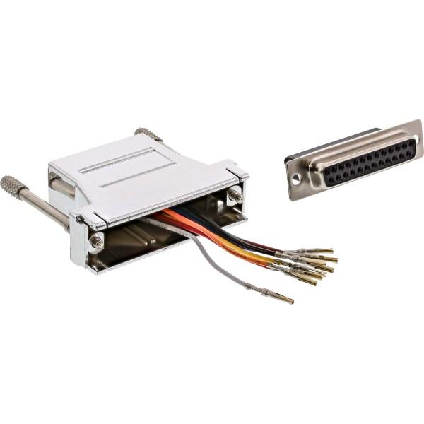 InLine® Adapter, 25pol Sub D Buchse an RJ45 Buchse, metallisiert
